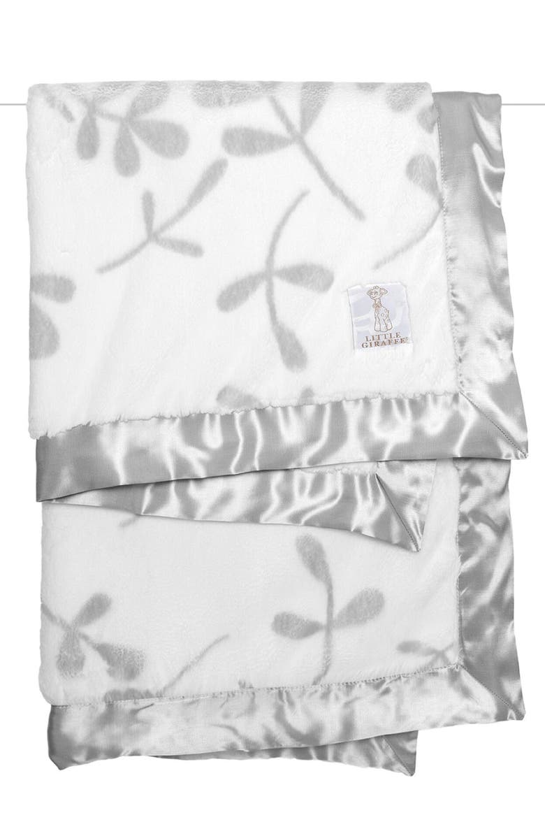 LITTLE GIRAFFE Luxe Olive Branch Blanket, Main, color, SILVER