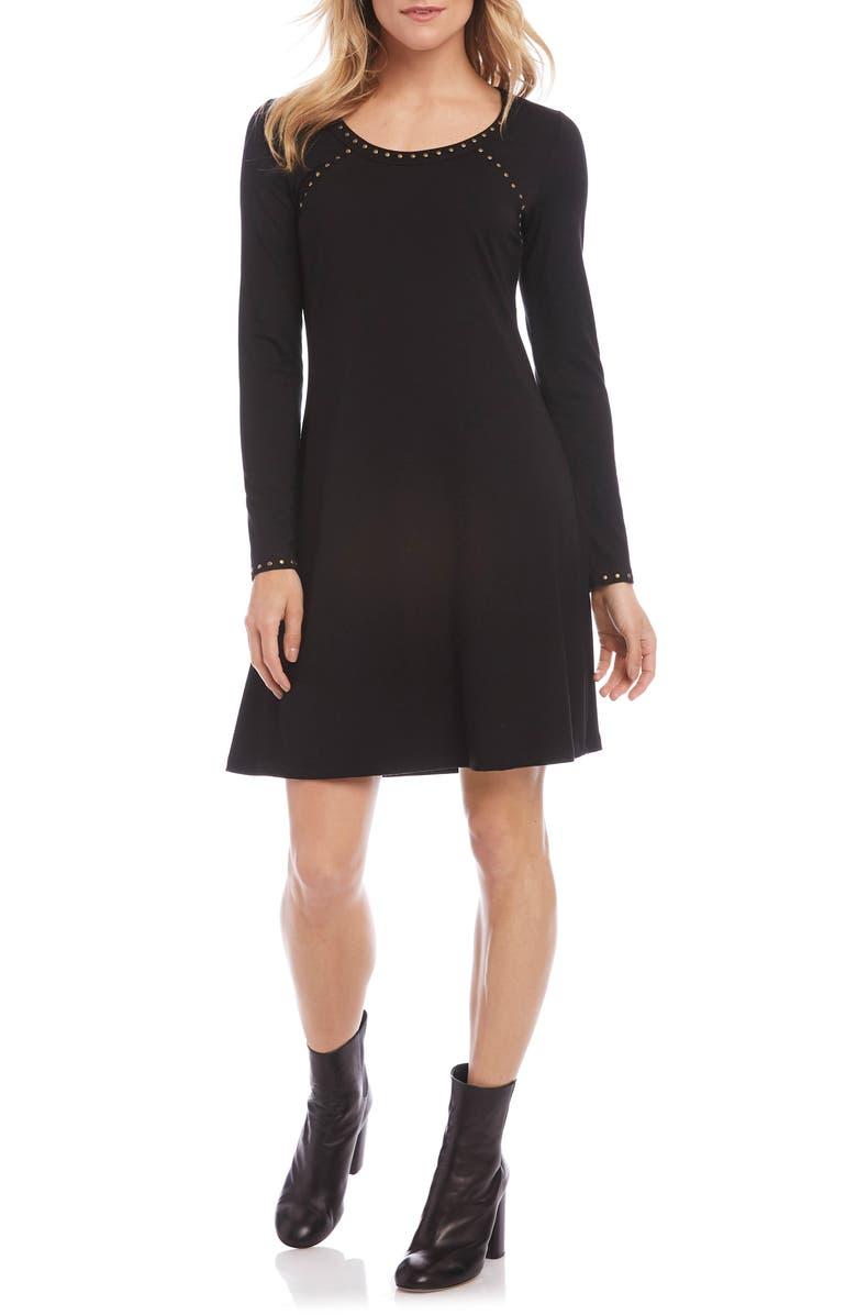 KAREN KANE Erin Studded Long Sleeve A-Line Dress, Main, color, BLACK