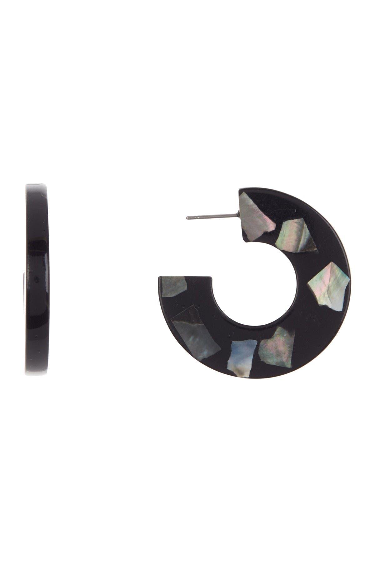 Image of AREA STARS 32mm Resin Open Hoop Earrings
