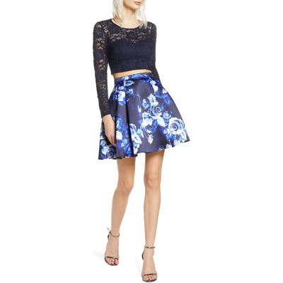 Sequin Hearts Glitter Lace Long Sleeve Two-Piece Party Dress, Blue