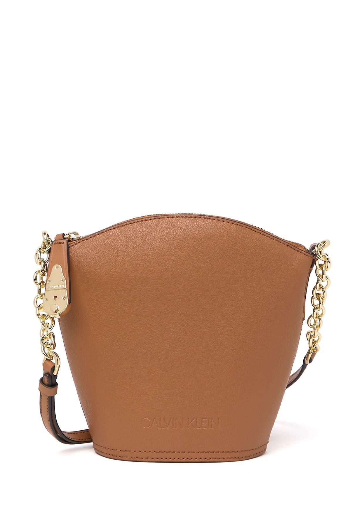 Image of Calvin Klein Daytonna Leather Bucket Crossbody Bag