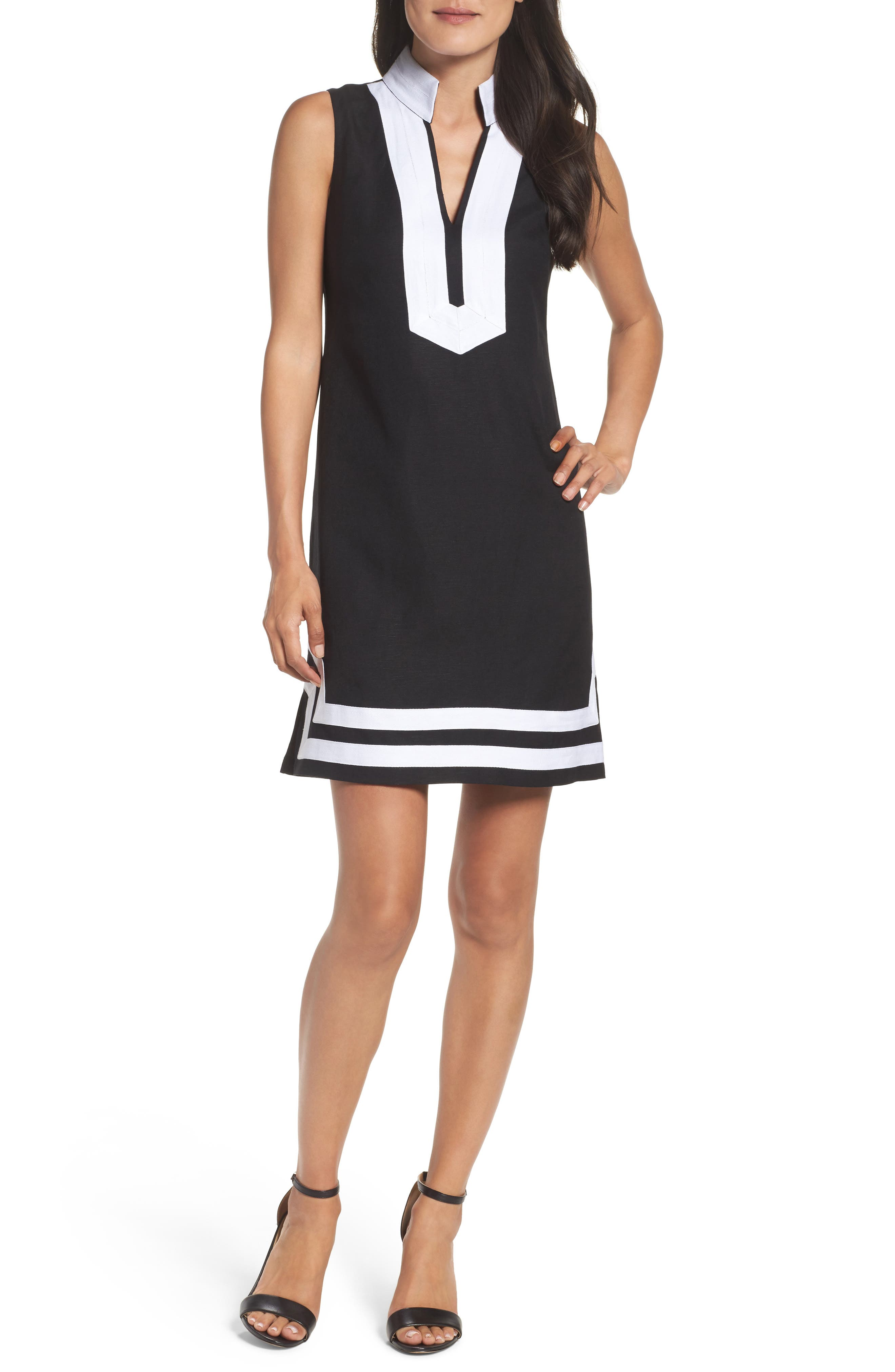 Eliza J Mandarin Collar Linen Blend Sheath Dress, Black