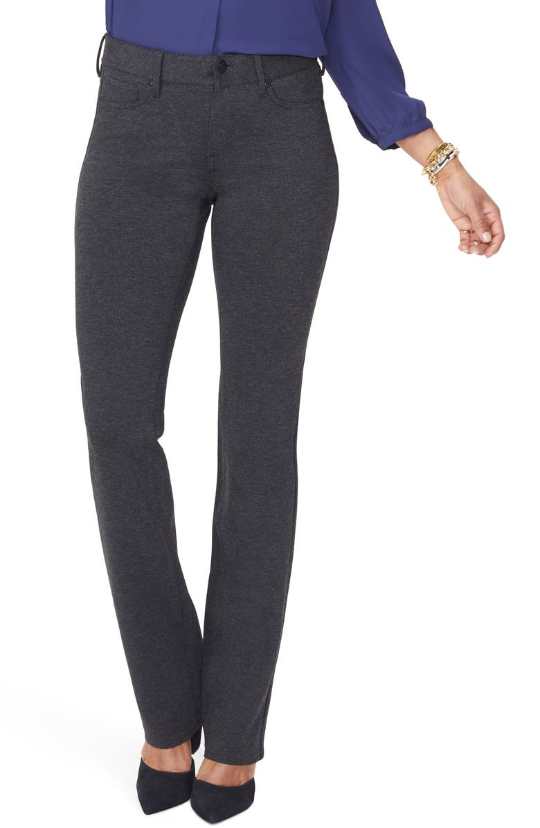 NYDJ Marilyn Straight Leg Ponte Pants, Main, color, HEATHER CHARCOAL