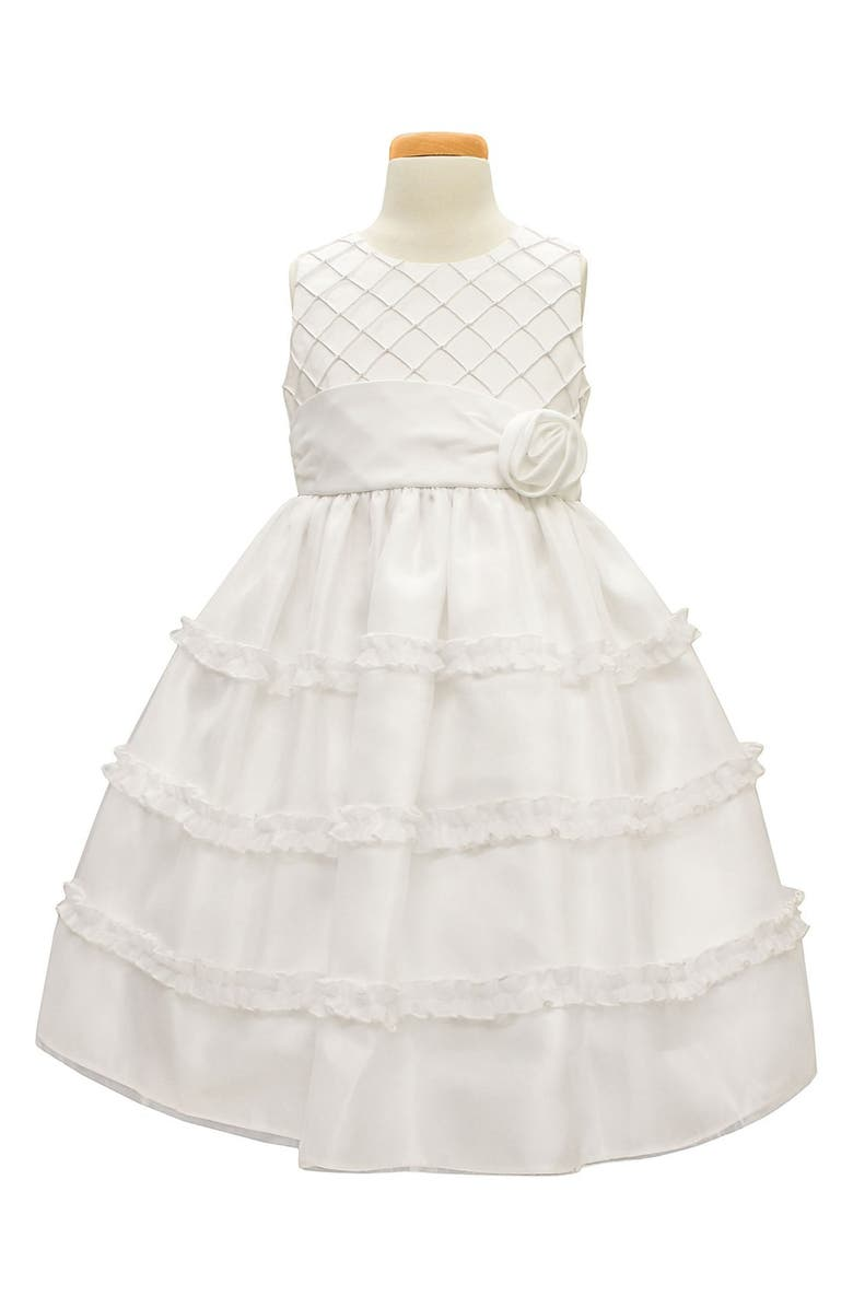 SORBET Diamond Pleated Satin & Organza Dress, Main, color, WHITE
