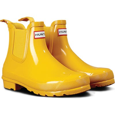 Hunter Original Gloss Waterproof Chelsea Boot, Yellow