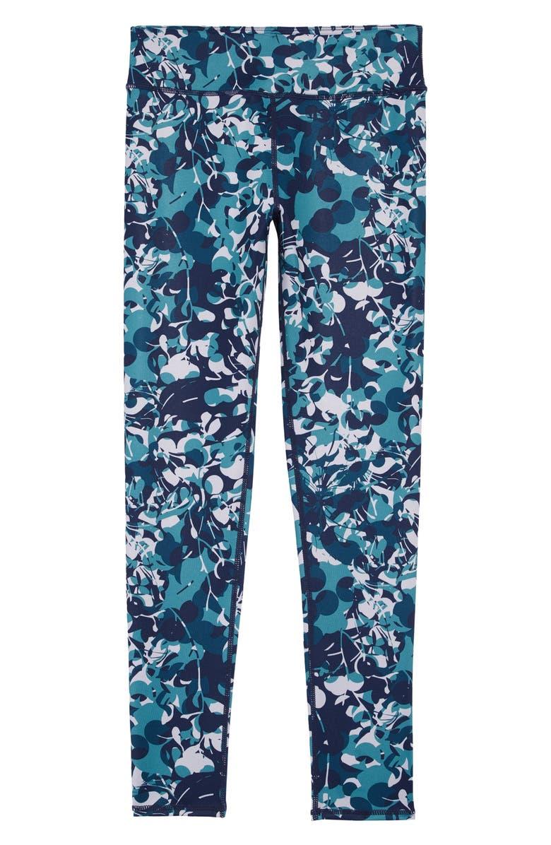 ZELLA GIRL Print Leggings, Main, color, BLUE CERAMIC CAMO FLORAL