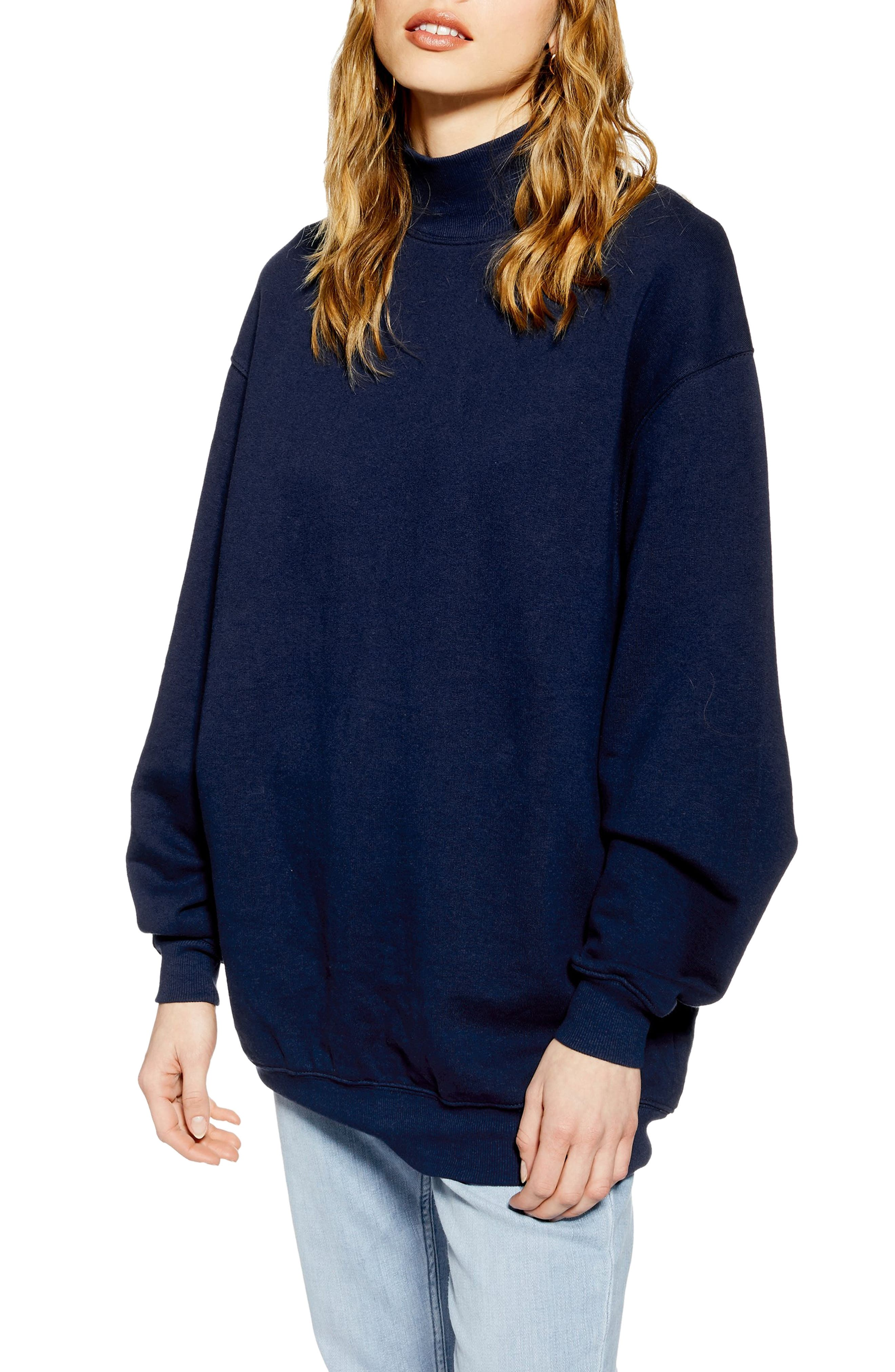 Topshop Oversized Mock Neck Sweatshirt