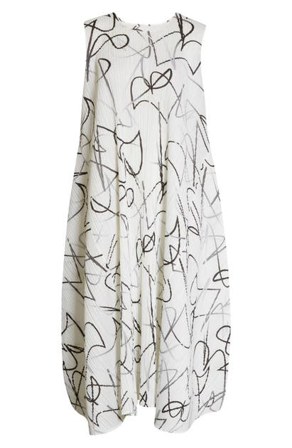 Pleats Please Issey Miyake CONDUCTOR PRINT PLEATED MIDI DRESS
