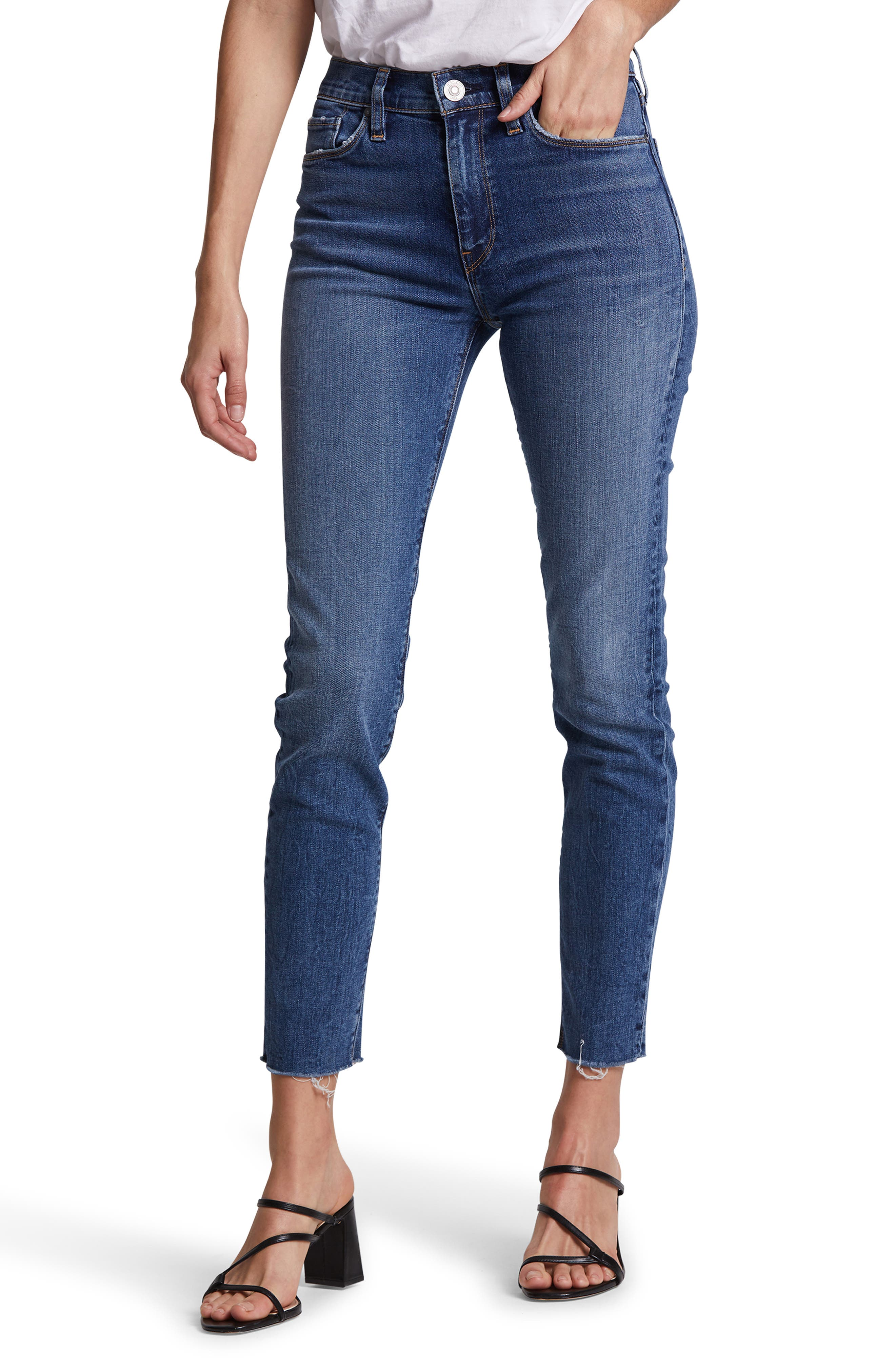 A rip at the knee authenticates sleek high-waisted skinnies as favorites you\\\'ll feel like you\\\'ve loved forever. Style Name: Hudson Jeans Barbara Ripped High Waist Ankle Skinny Jeans. Style Number: 5956120. Available in stores.