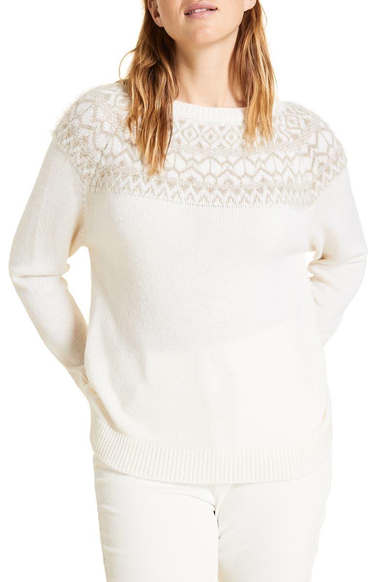 MARINA RINALDI Agenzia Alpaca & Wool Blend Sweater, Main, color, WHITE