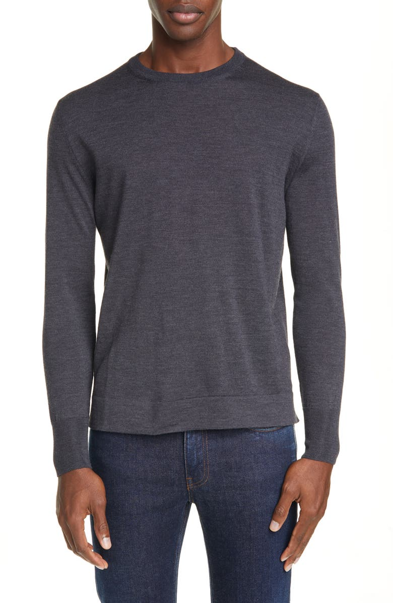 CANALI Crewneck Wool Sweater, Main, color, CHARCOAL