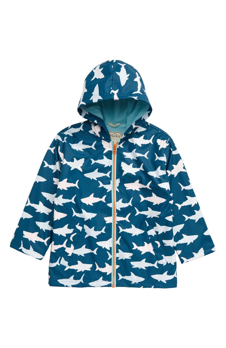 HATLEY Sharks Color Changing Waterproof Hooded Raincoat, Main, color, BLUE