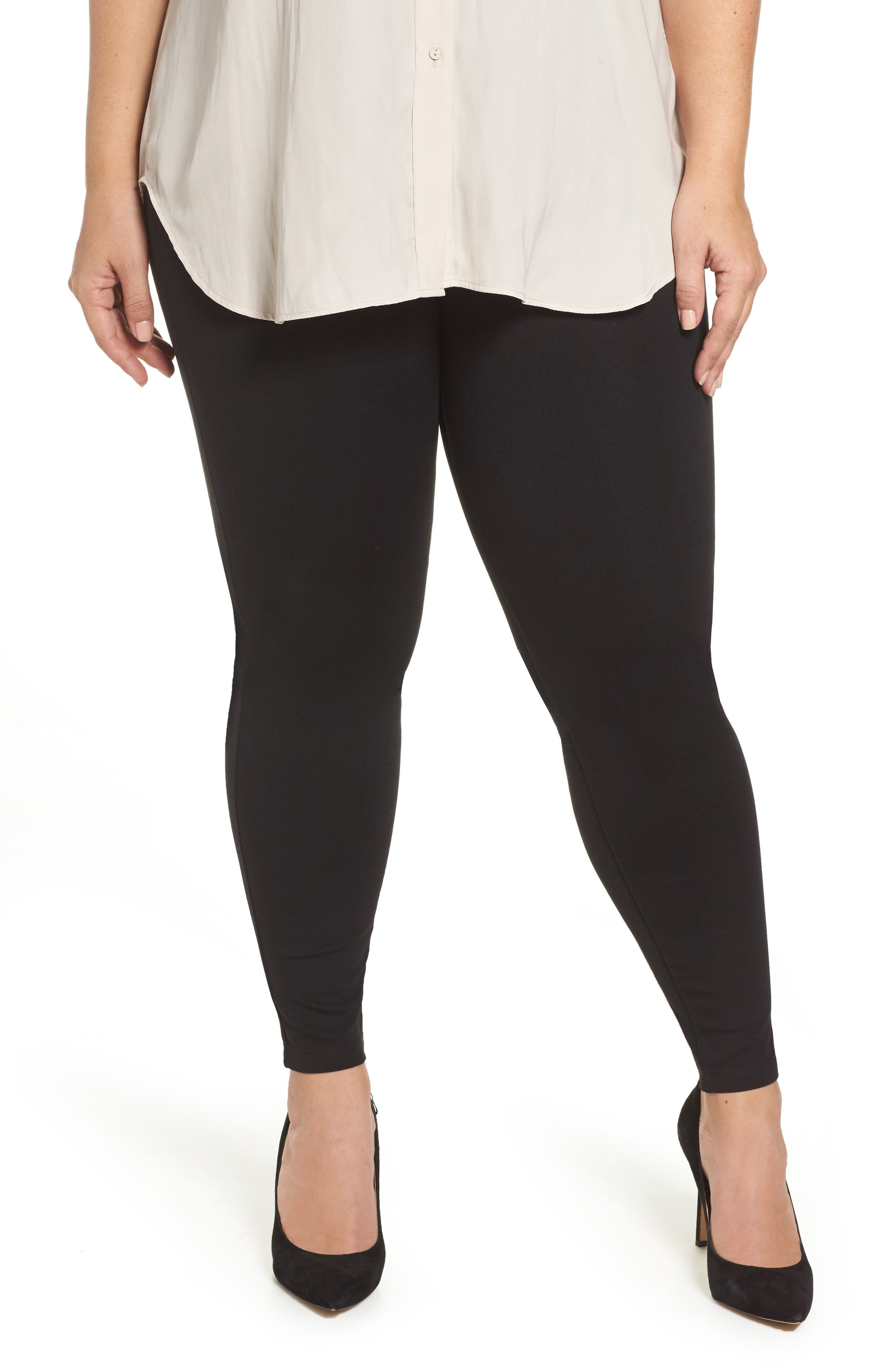 Plus Size Liverpool Ponte Knit Leggings, Black
