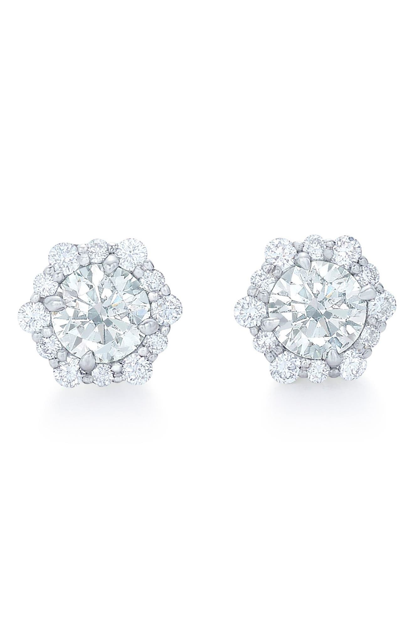 Diamond Halo Stud Earrings, Main, color, WHITE GOLD