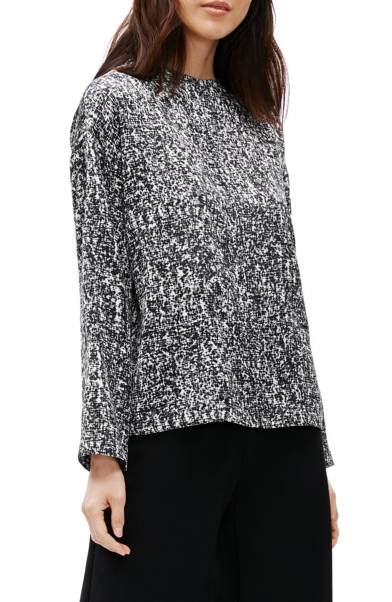 EILEEN FISHER Funnel Neck Silk & Cotton Top, Main, color, 001