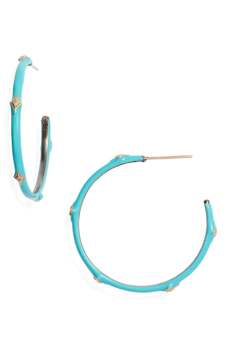 ARMENTA New World 14k Gold & Enamel Hoop Earrings, Main, color, TURQUOISE ENAMEL