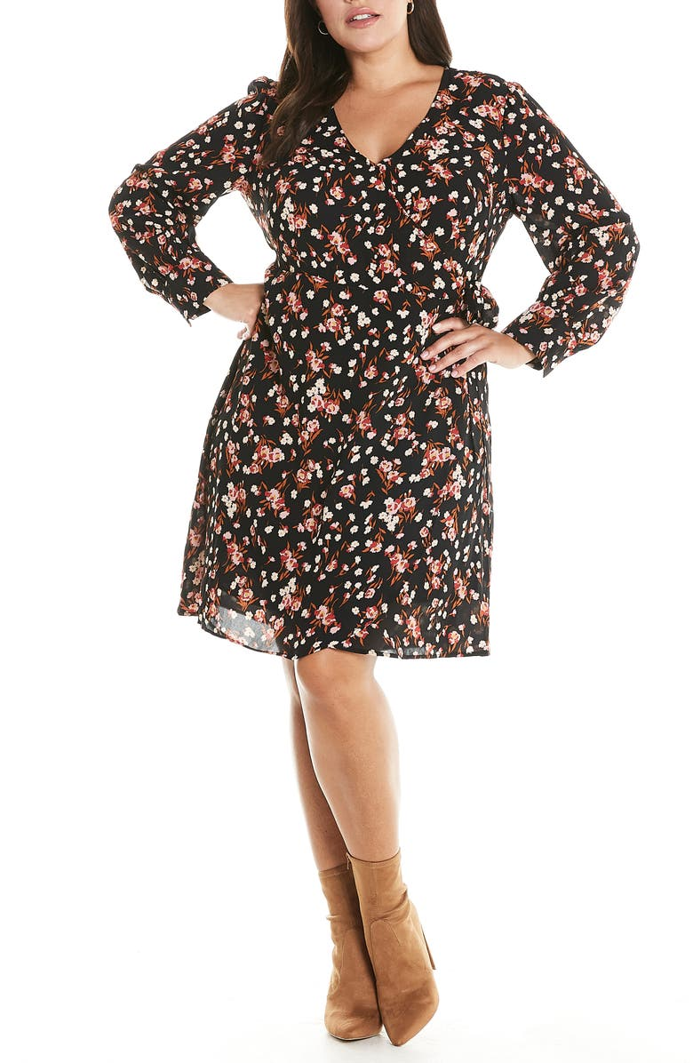 ESTELLE Sugar & Spice Floral Long Sleeve Faux Wrap Dress, Main, color, PRINT