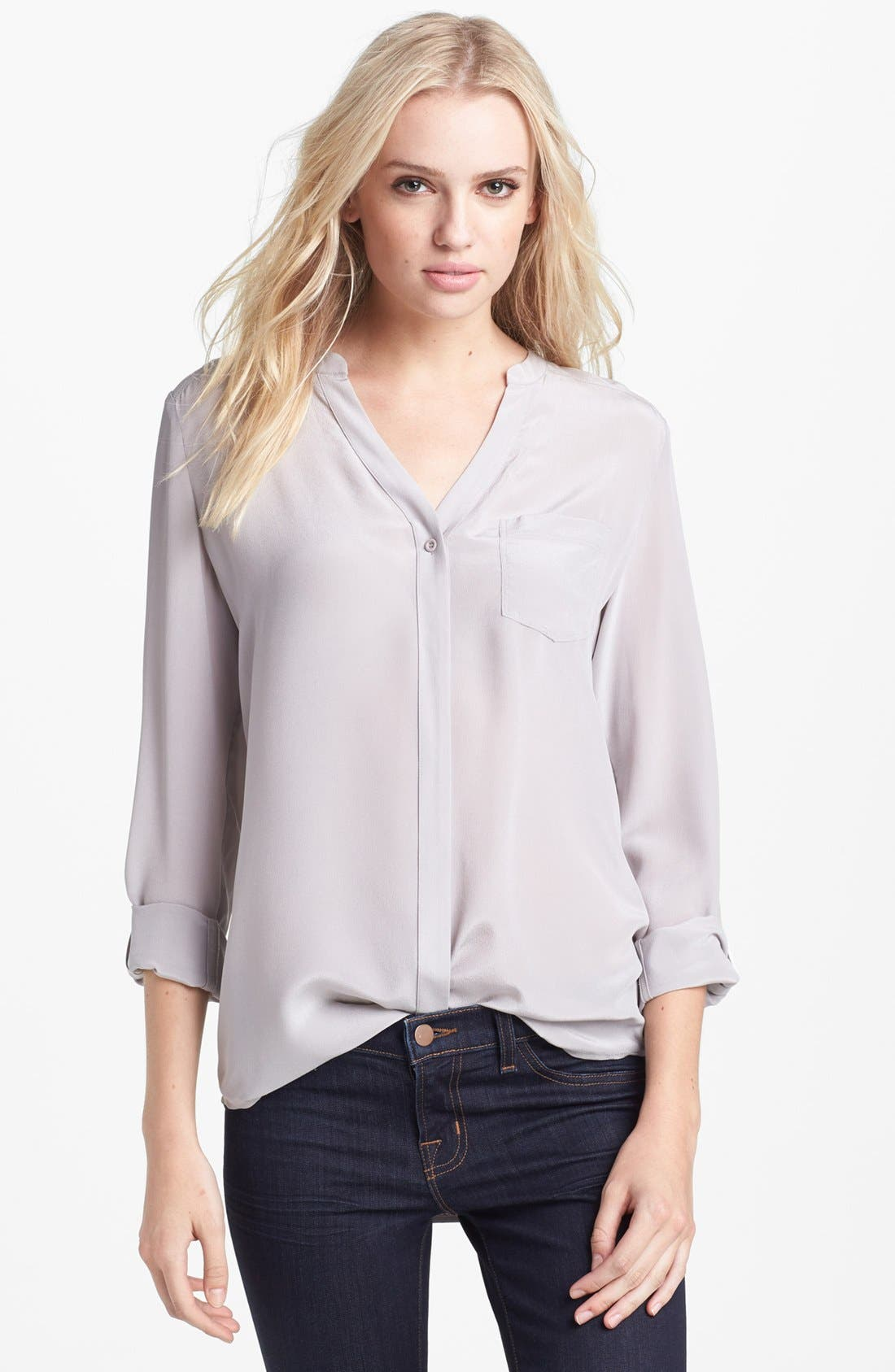 ,                             Collarless Silk Blouse,                             Main thumbnail 13, color,                             020