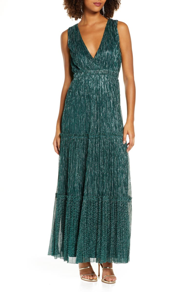 LULUS Falling Star Metallic V-Neck Gown, Main, color, TEAL GREEN
