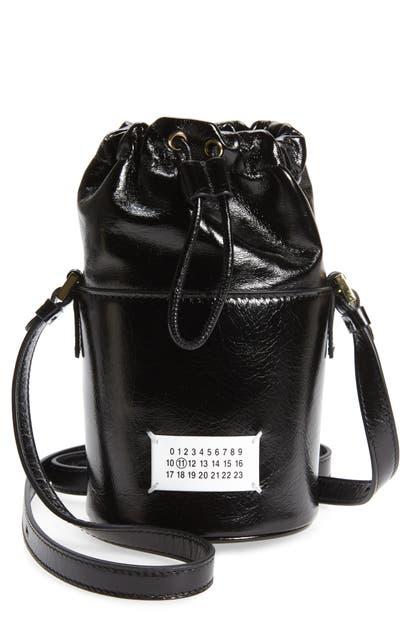 Maison Margiela Leathers MICRO 5AC PATENT LEATHER BUCKET BAG