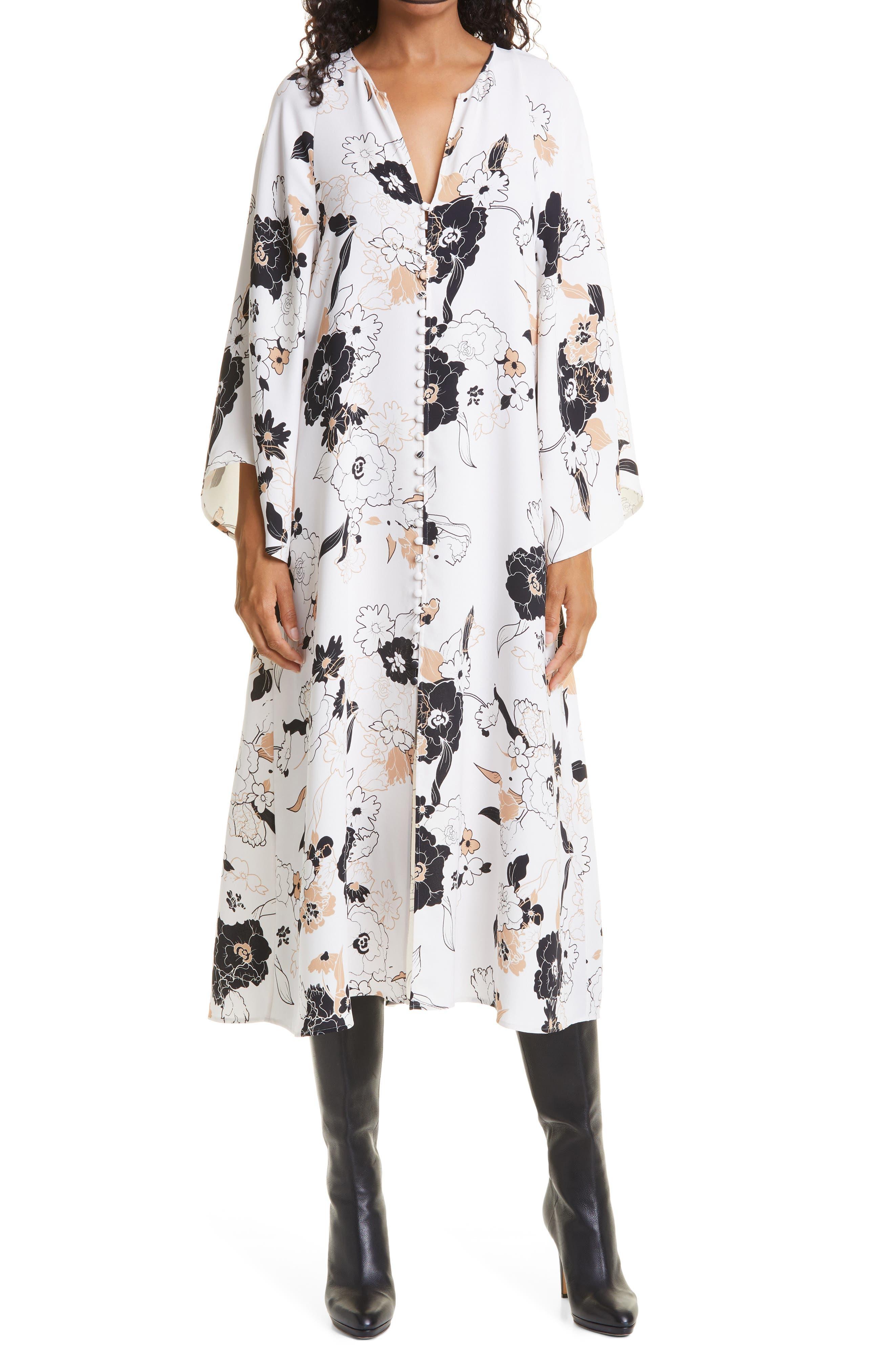 Estelle Floral Print Long Sleeve Silk Dress