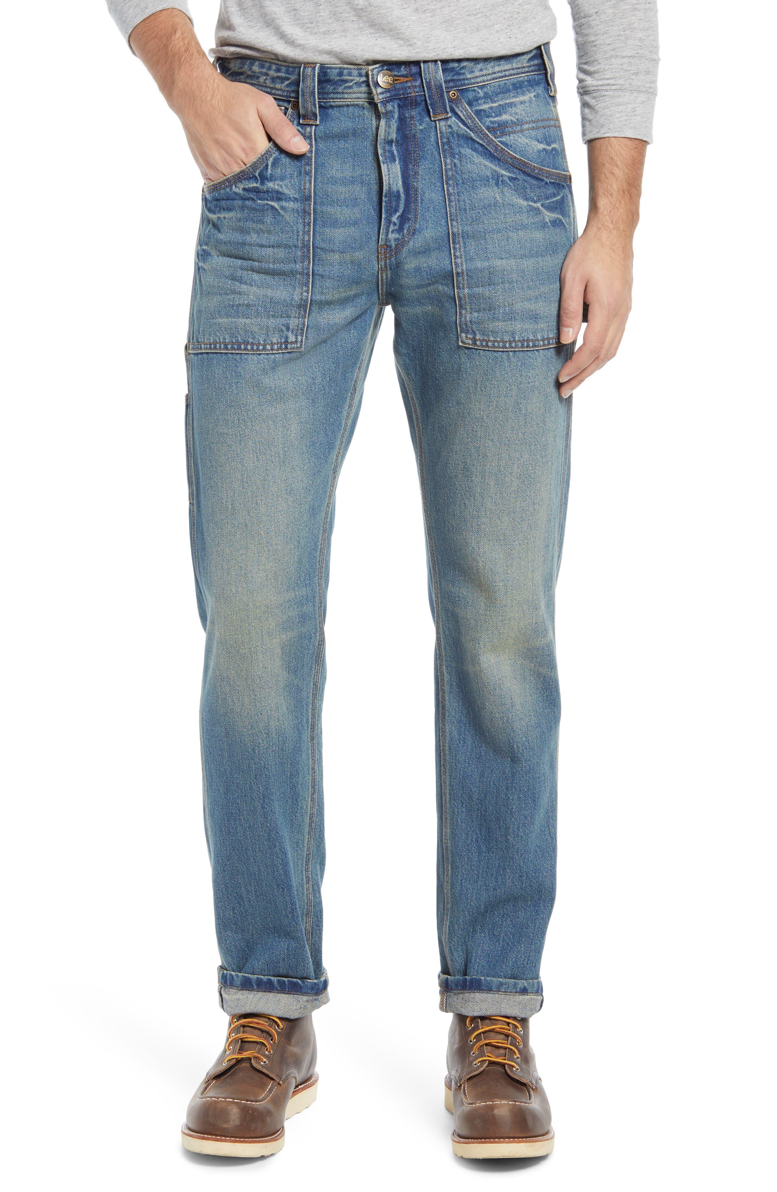 Regular Straight Leg Utility Jeans