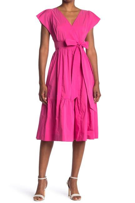 Image of MELLODAY Cap Sleeve Poplin Tie Waist Midi Dress