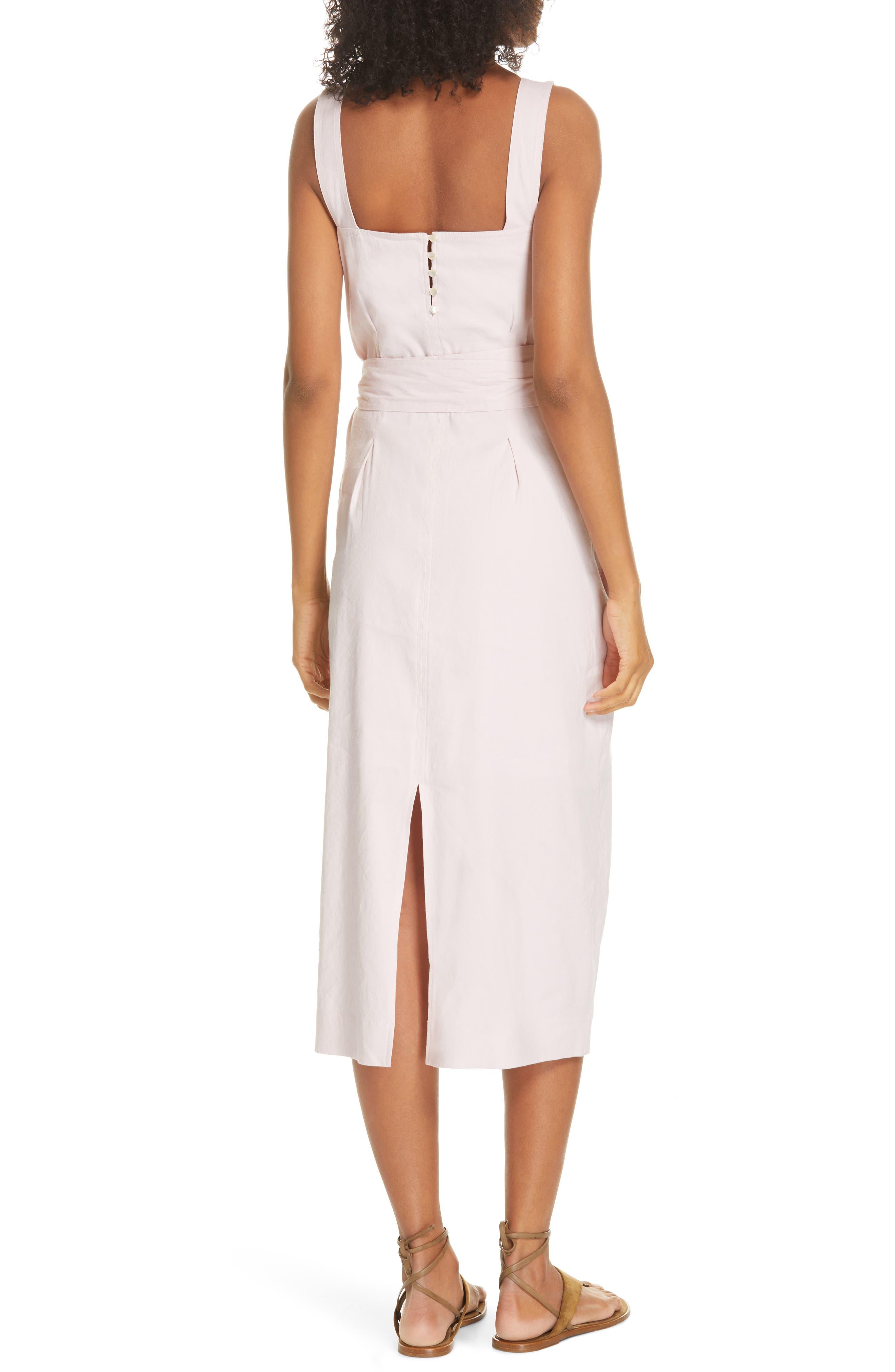 ,                             Wide Strap Belted Linen Blend Dress,                             Alternate thumbnail 2, color,                             ROSA SECO