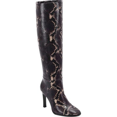 Sigerson Morrison Kailey Snakeskin Embossed Knee High Boot, Brown