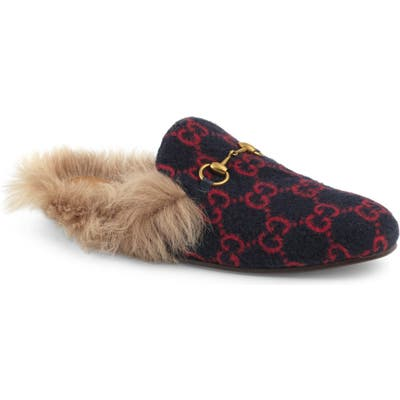 Gucci Princetown Genuine Shearling Lined Mule Loafer