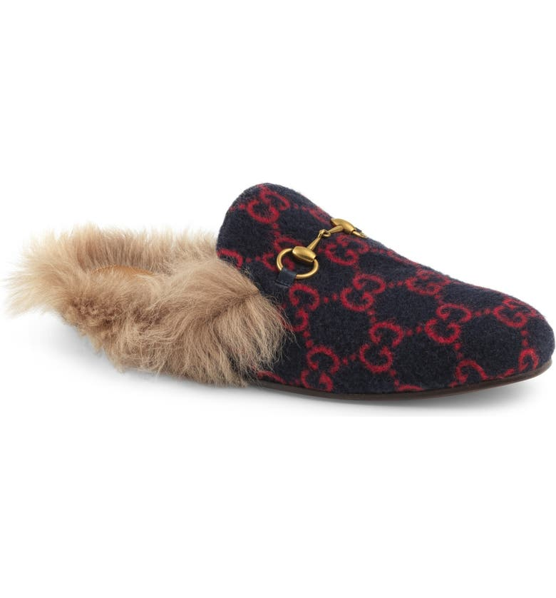 GUCCI Princetown Genuine Shearling Lined Mule Loafer, Main, color, 494