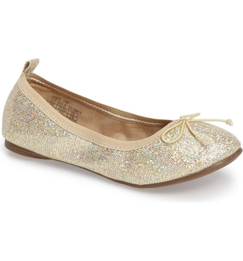 REACTION KENNETH COLE Copy Tap Shimmer Ballet Flat, Main, color, LIGHT GOLD SHIMMER