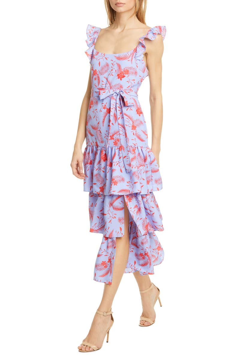 LIKELY Juno Floral Tiered Ruffle Midi Dress, Main, color, 400