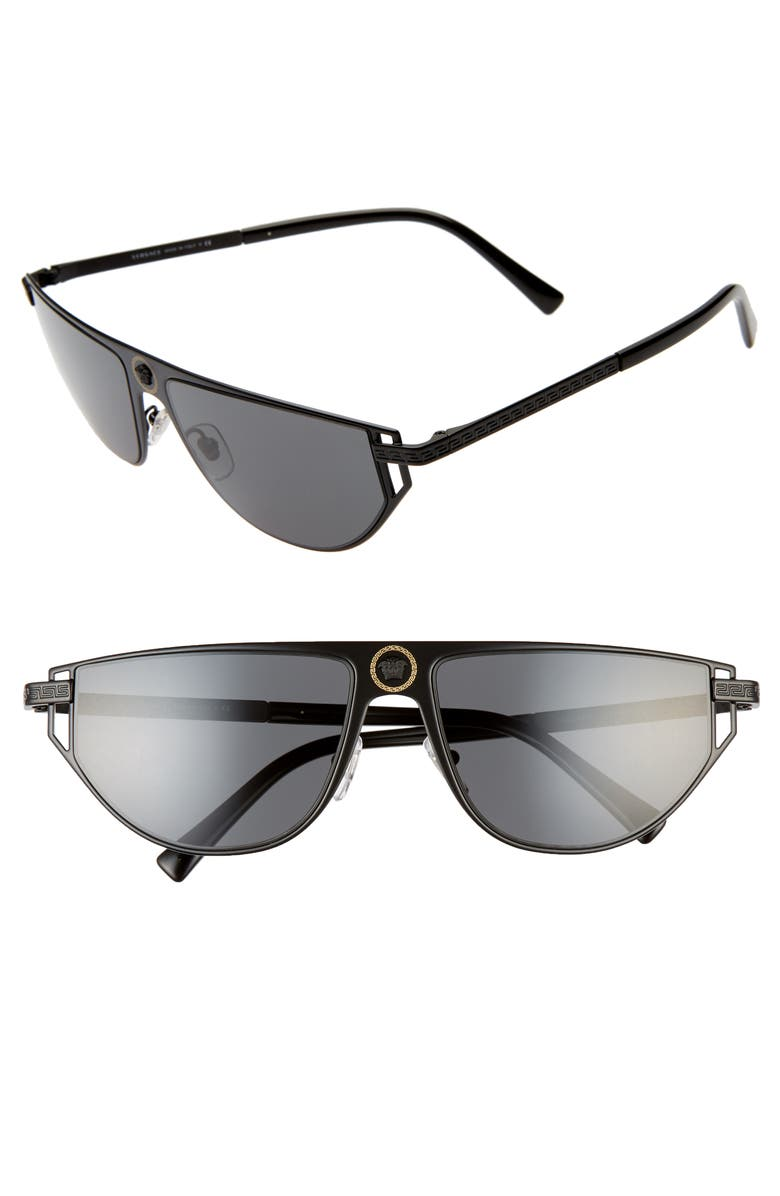 VERSACE 57mm Cat Eye Sunglasses, Main, color, MATTE BLACK