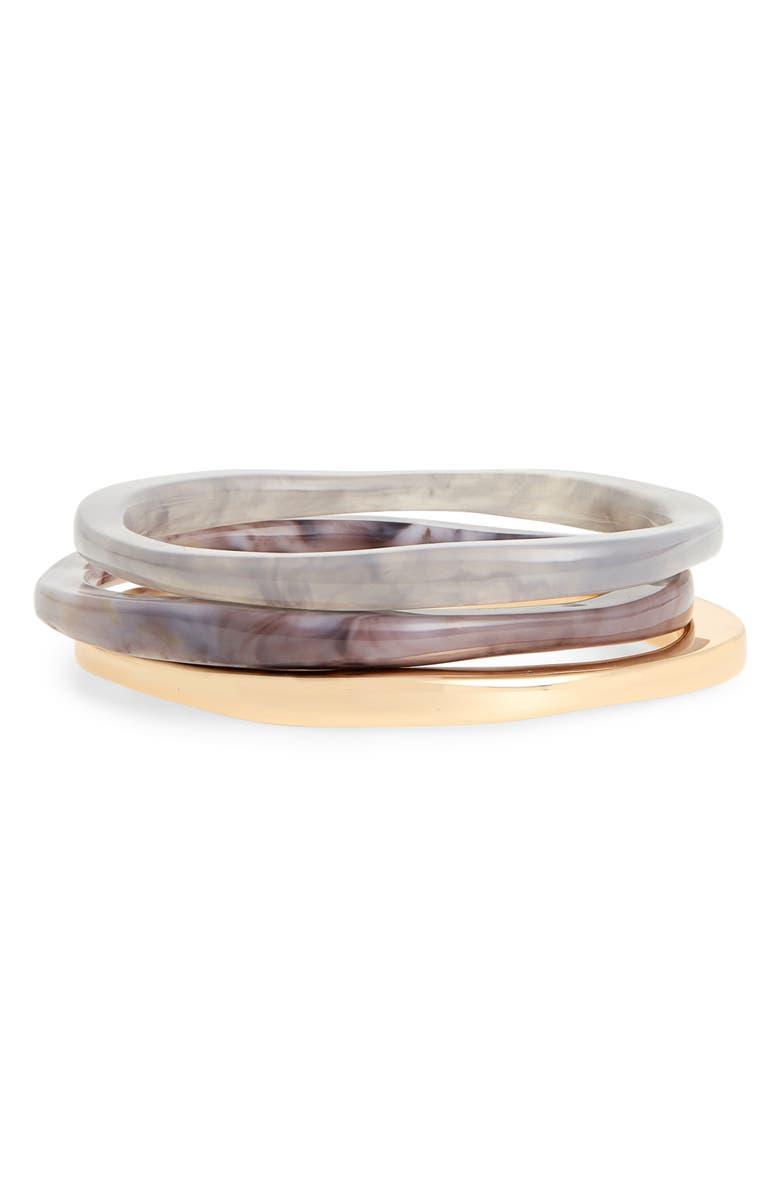 HALOGEN<SUP>®</SUP> Set of 3 Mixed Bangles, Main, color, GREY- GOLD