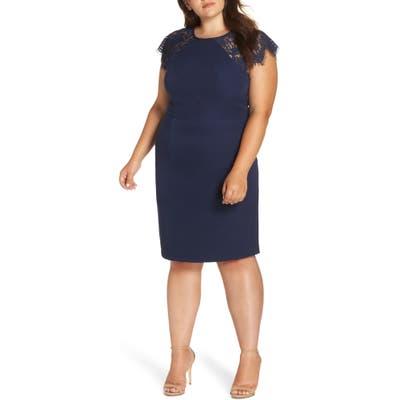 Plus Size Chi Chi London Lace Detail Sheath Dress, Blue
