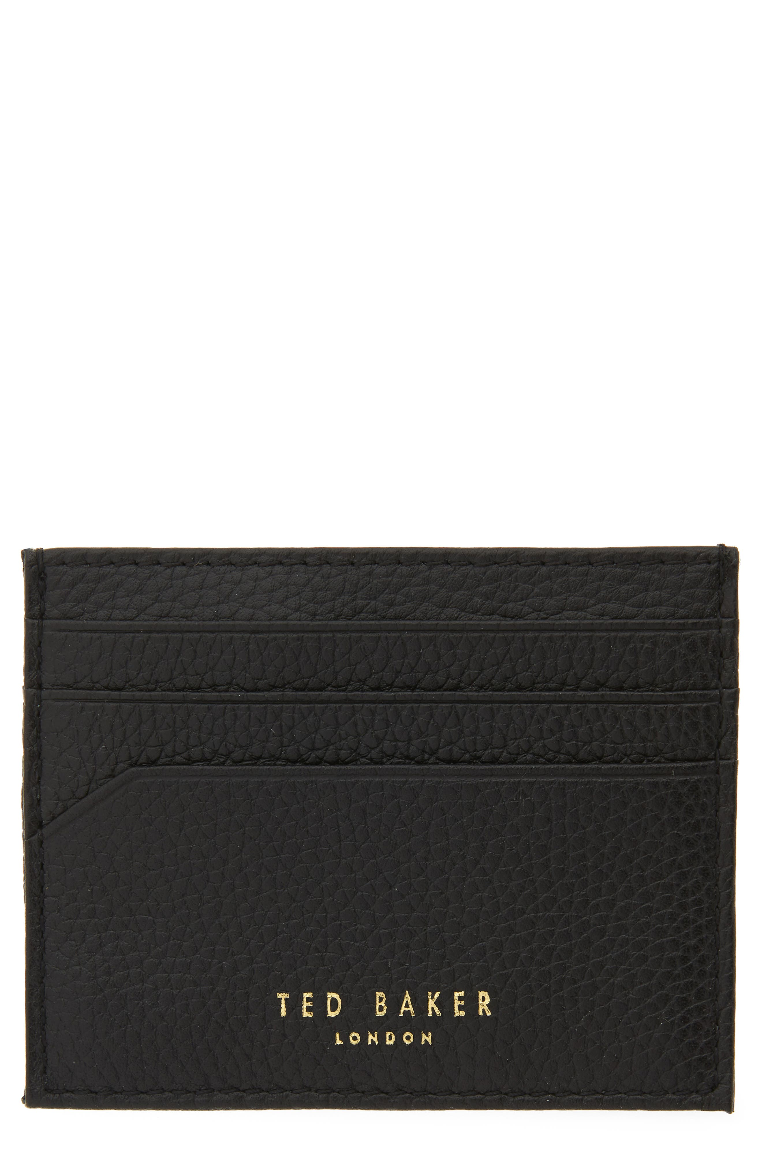 ,                             Giuliah Leather Card Holder,                             Main thumbnail 1, color,                             BLACK