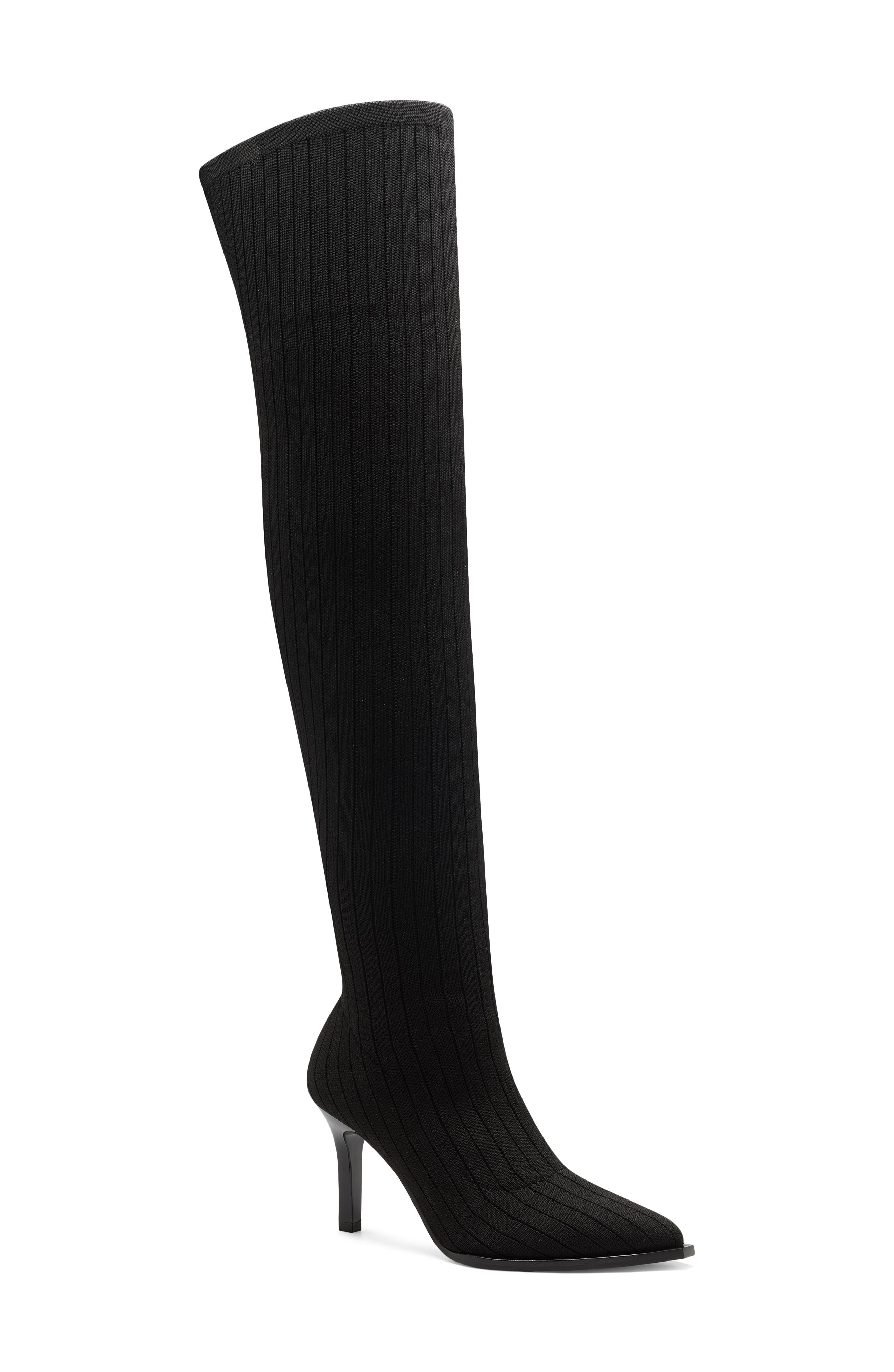 Rib-knit fabrication adds subtle texture to an over-the-knee boot with a pointy toe and stiletto heel that\\\'s sure to steal the scene. Style Name: Vince Camuto Over The Knee Pointed Toe Boot (Women). Style Number: 6122344. Available in stores.