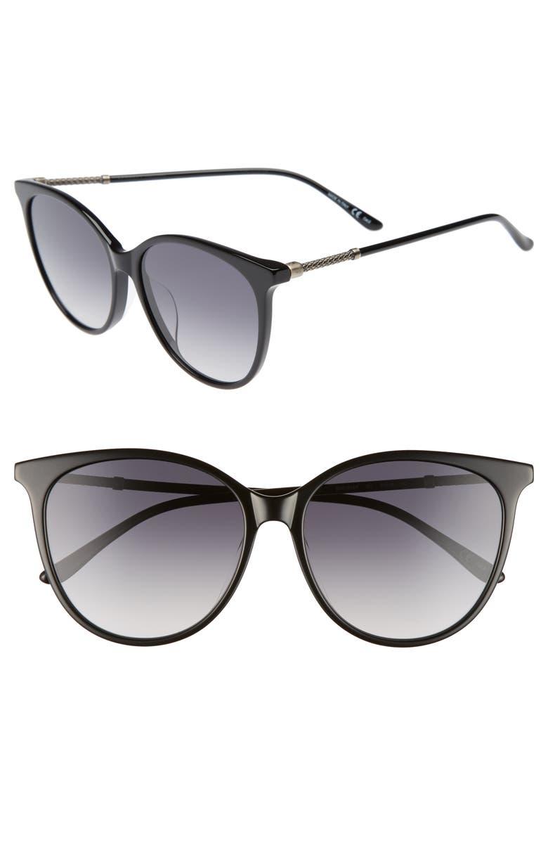 BOTTEGA VENETA 57mm Cat Eye Sunglasses, Main, color, BLACK