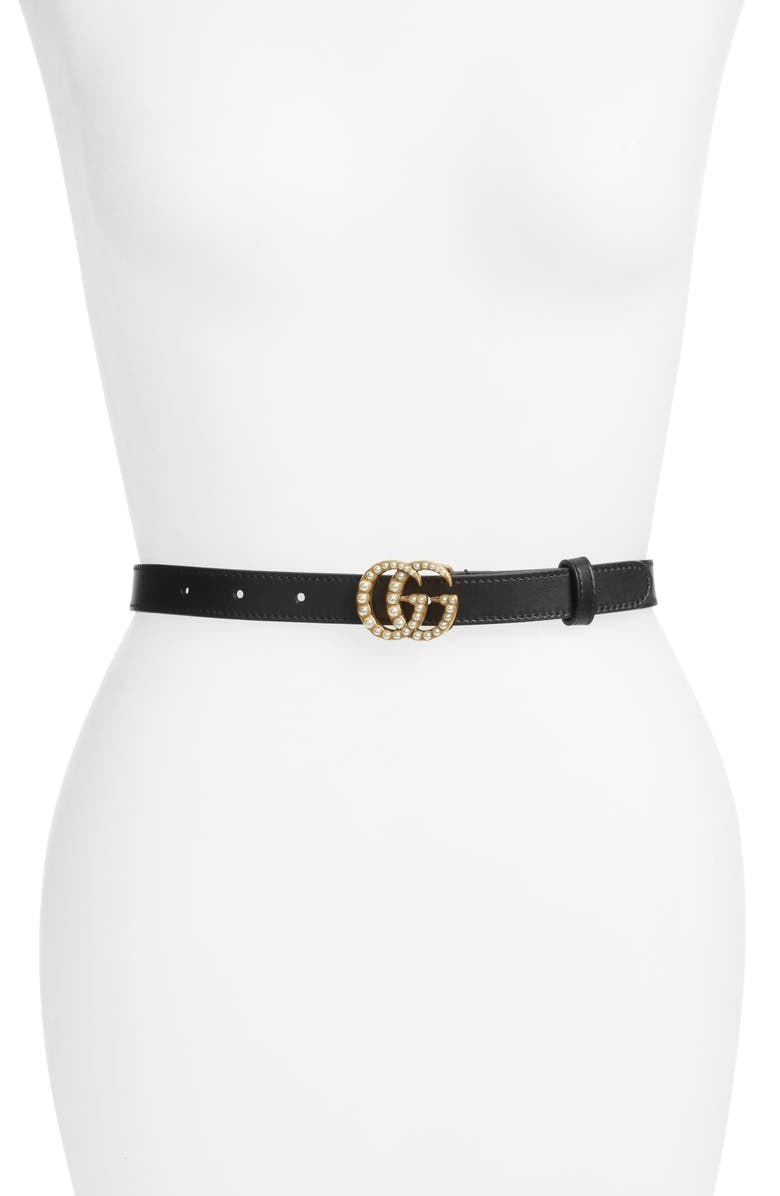 GUCCI Calfskin Leather Skinny Belt, Main, color, NERO/ CREAM
