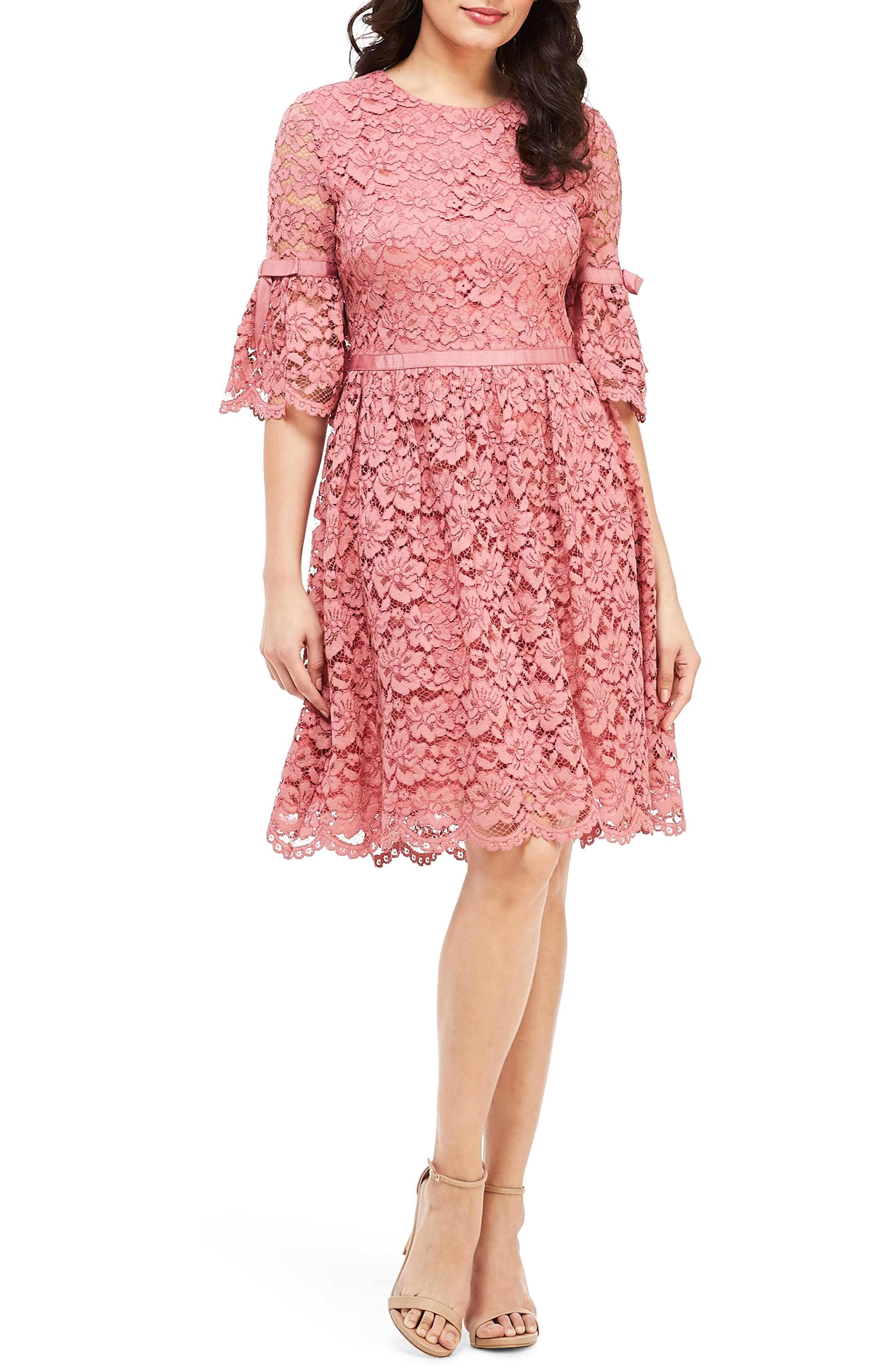 Gal Meets Glam Collection Josephine Scallop Lace Fit & Flare Dress, Pink
