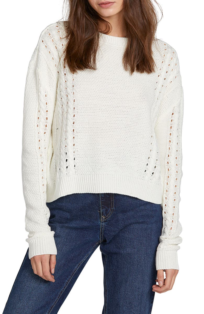 VOLCOM Cable Bodied Sweater, Main, color, CREAM