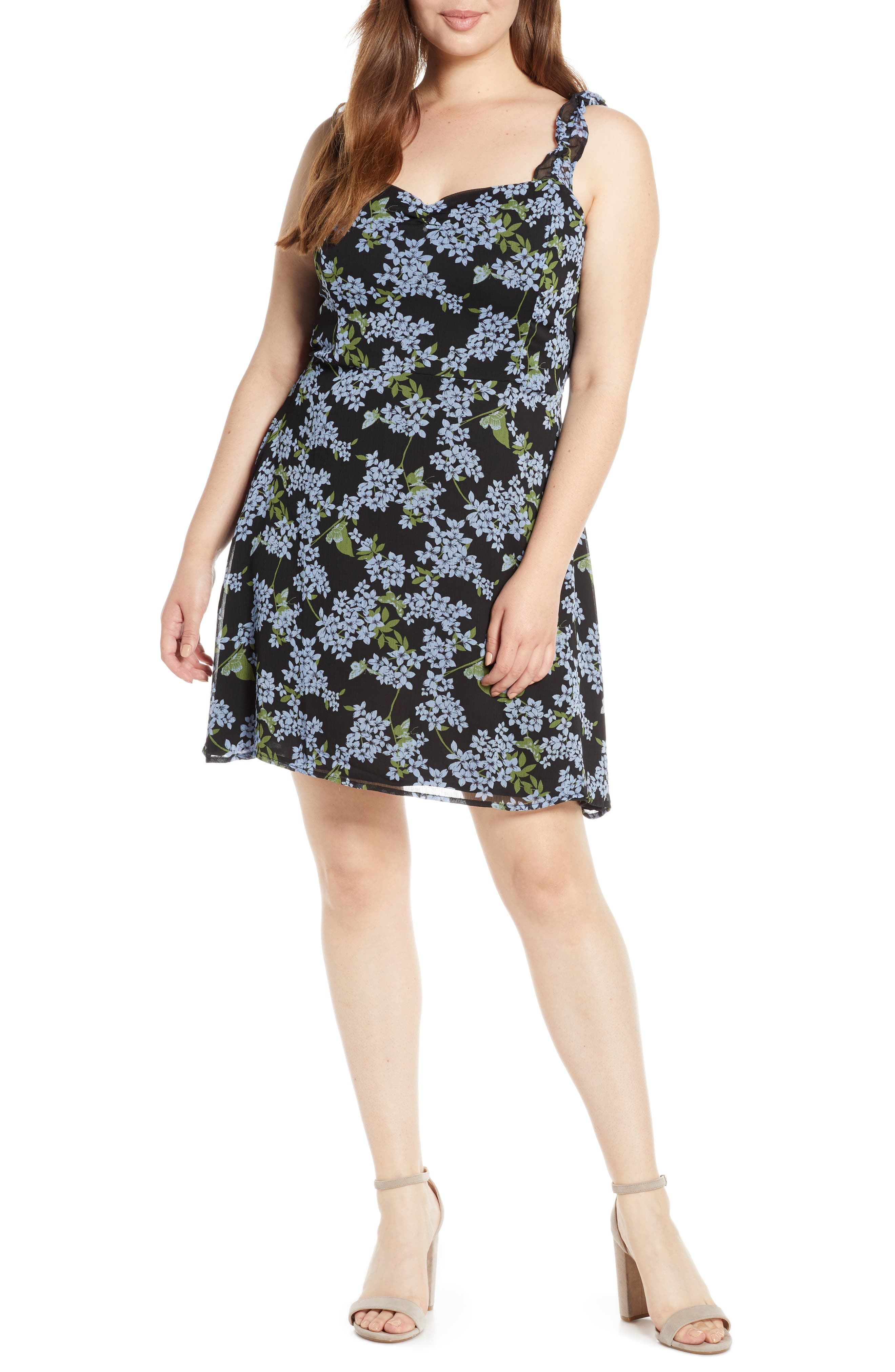 ,                             Stella Ruffle Strap Minidress,                             Alternate thumbnail 4, color,                             BLACK BLUE FLORAL
