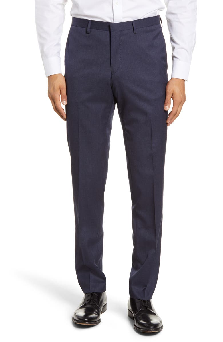 TIGER OF SWEDEN Flat Front Solid Wool Trousers, Main, color, SOFT BLUE