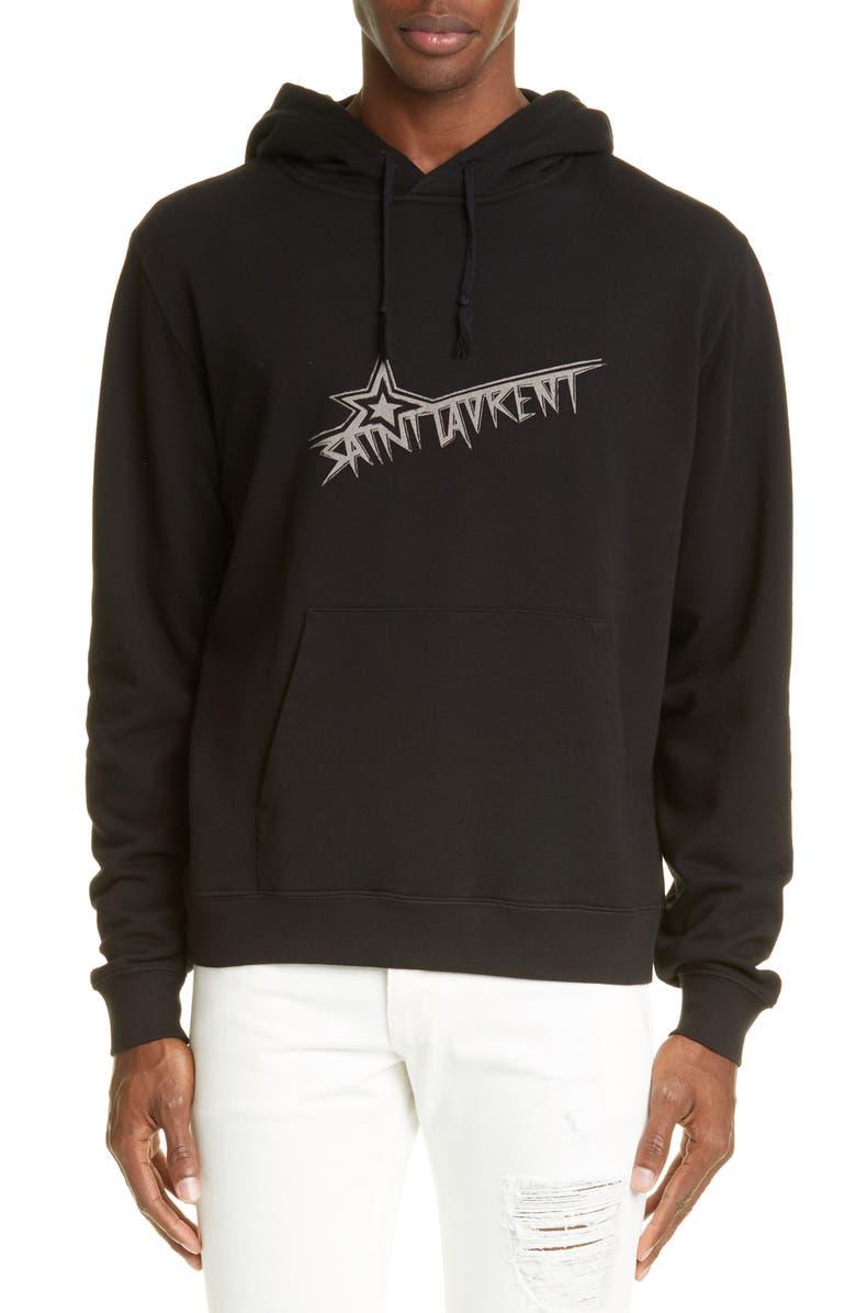 SAINT LAURENT Star Logo Hooded Sweatshirt, Main, color, BLACK