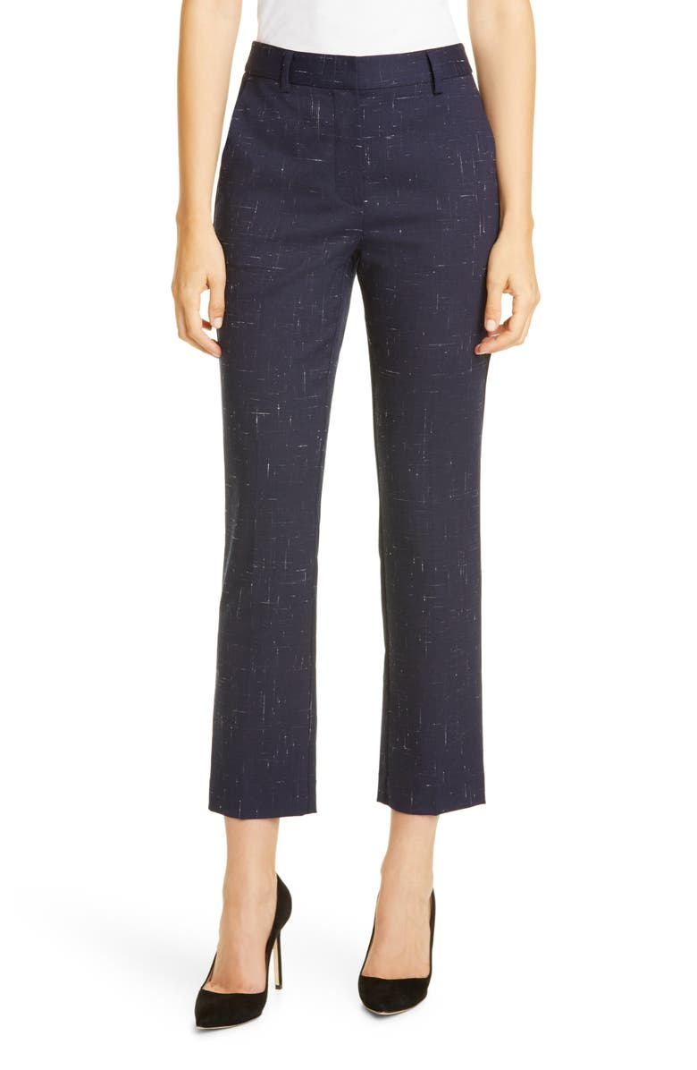 TAILORED BY REBECCA TAYLOR Crosshatch Ankle Trousers, Main, color, NAVY