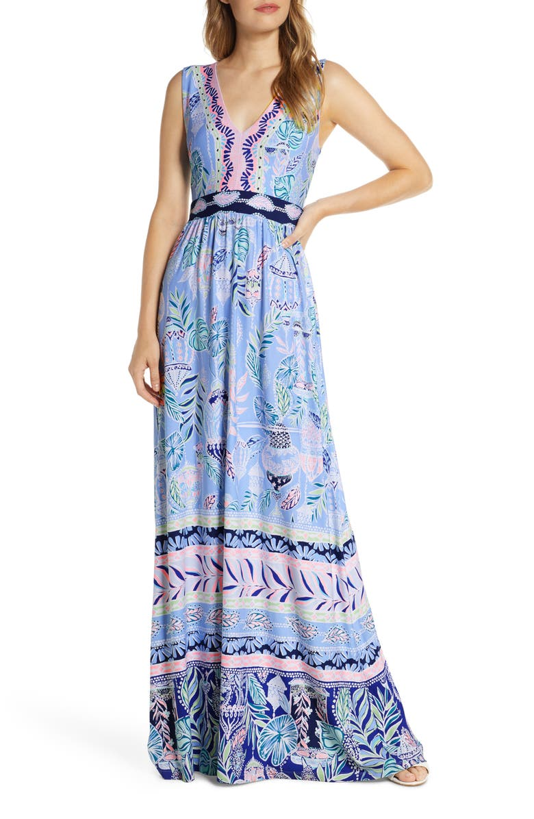 LILLY PULITZER<SUP>®</SUP> McKinley Maxi Dress, Main, color, BLUE PERI LAPIS LANTERNS ENG