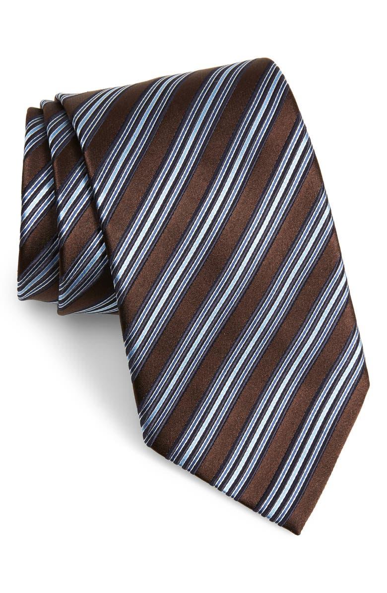 ERMENEGILDO ZEGNA Stripe Silk X-Long Tie, Main, color, DARK BROWN STRIPE