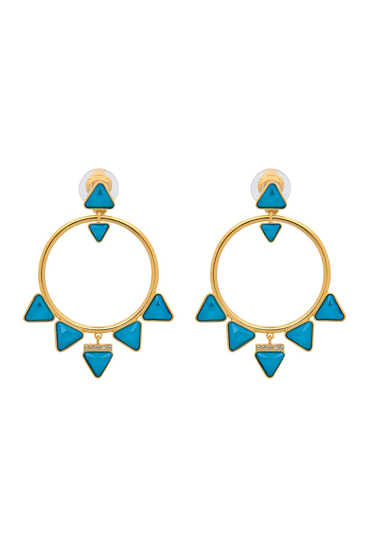 Image of Swarovski Labyrinth 23K Yellow Gold Plated Teal Swarovski Crystal Clip-On Hoop Earrings