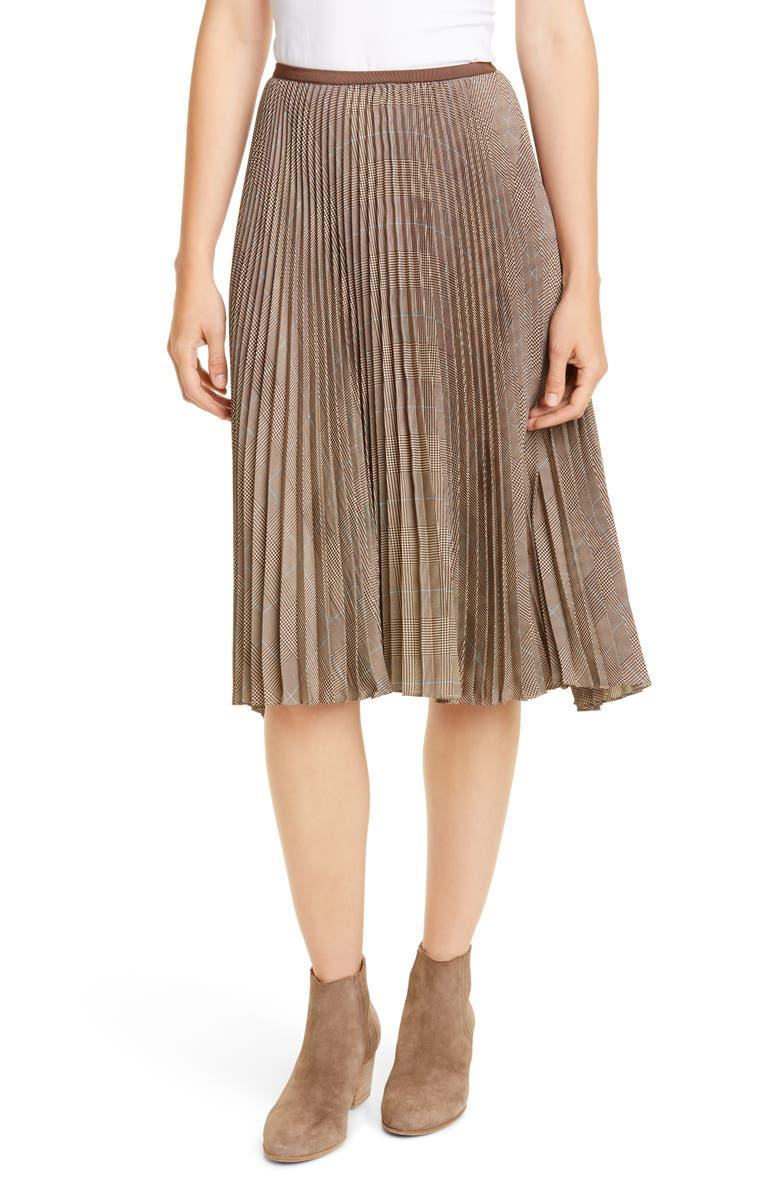 POLO RALPH LAUREN Rese Pleated Plaid Skirt, Main, color, GLEN PLAID